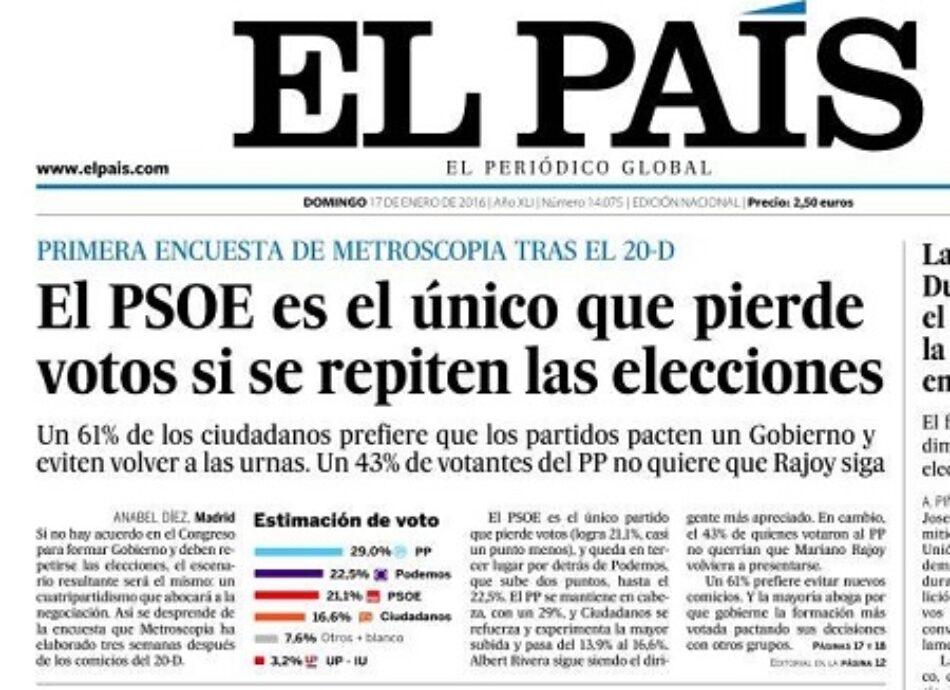 """El País, cegado por su irreductible apoyo a C´s: """"es el partido que más crece con respecto a las pasadas elecciones"""""""