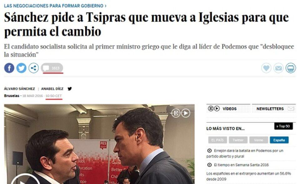 El País informa de la escenificación de Pedro Sánchez en Grecia pero oculta la respuesta de Tsipras