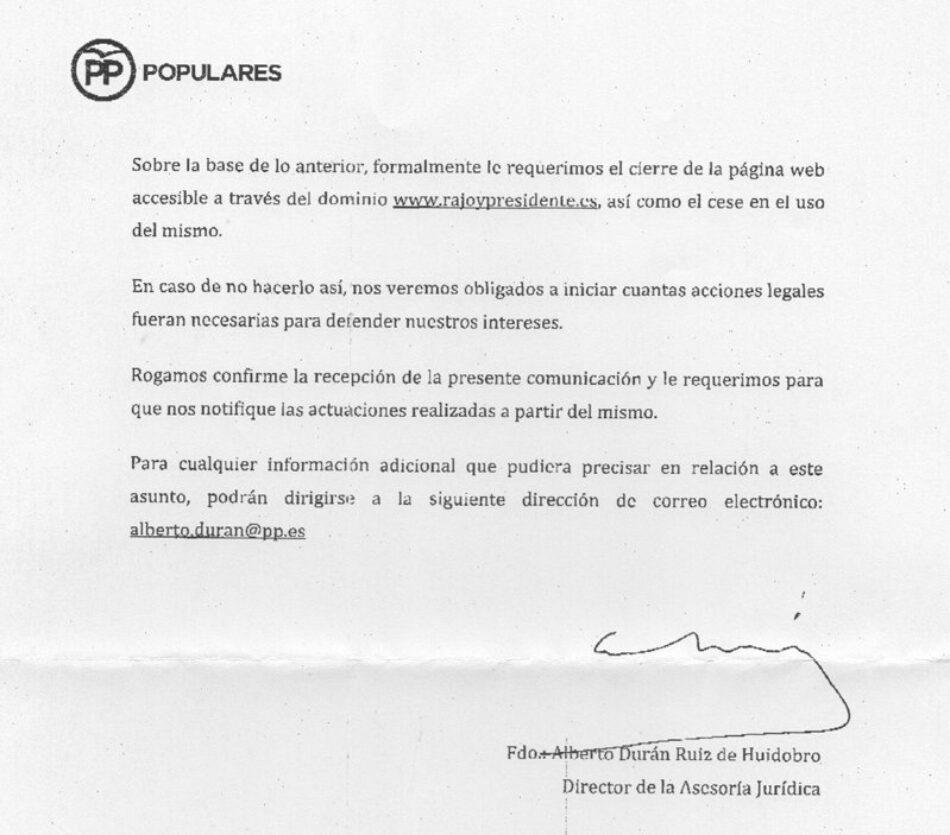 El PP pide por carta el cierre del dominio rajoypresidente.es y amenaza a «El Mundo Today» con «cuantas acciones legales fueran necesarias»
