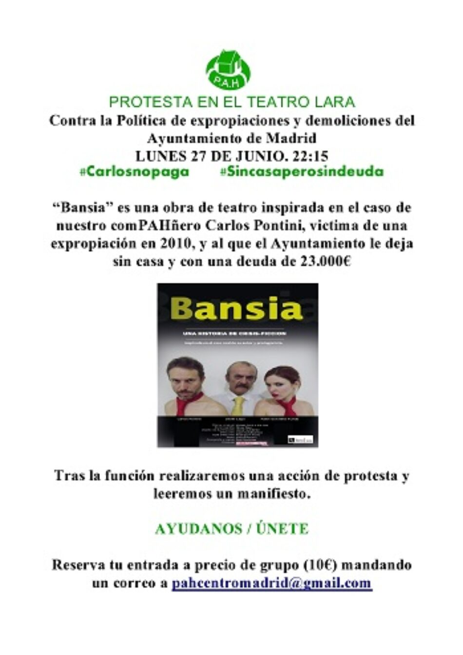"""PAH Madrid convoca a una acción de protesta en el Teatro Lara, tras la representación de la obra """"Bansia"""""""
