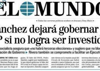 """El Mundo no publica noticias, sino suposiciones: """"Sánchez dejará gobernar al PP si no logra ser investido"""""""