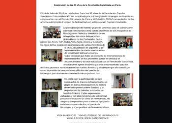 Celebran el 37 Aniversario de la Revolución Sandinista en Francia