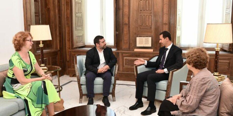 El presidente al-Assad destaca la importancia del rol de los parlamentarios europeos en enderezar las políticas erróneas que dieron pie a la propagación del terrorismo y el deterioro del nivel de vida de los sirios