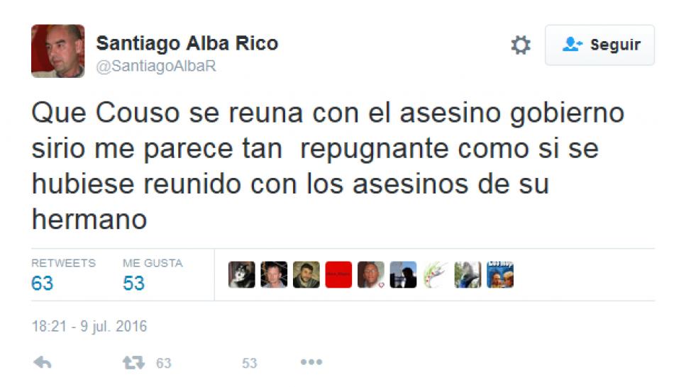 Reacciones tras las críticas de Santiago Alba Rico a la visita del eurodiputado Javier Couso a Siria