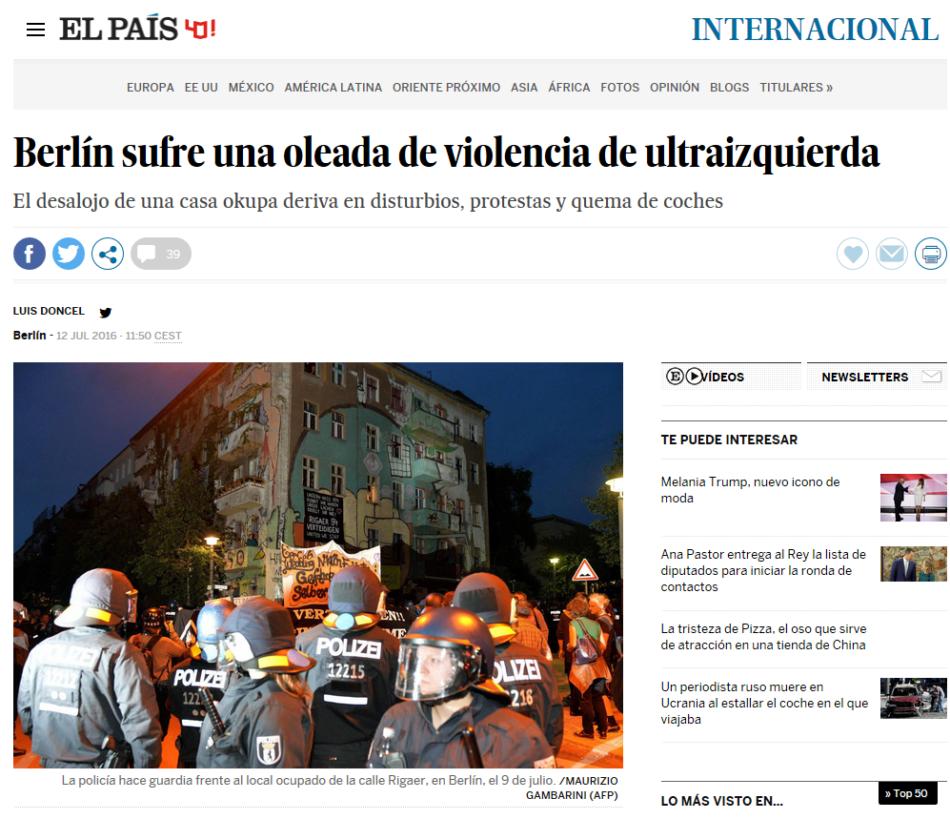 Críticas a la información sesgada de El País: «Berlín sufre una oleada de violencia de ultraizquierda»