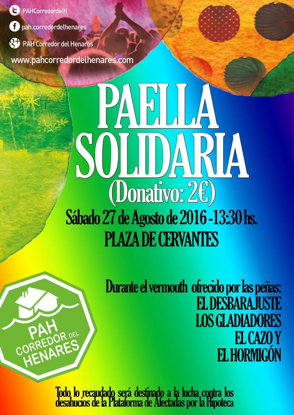 La PAH Corredor del Henares ofrecerá este sábado una paella en el vermut de ferias de las Peñas