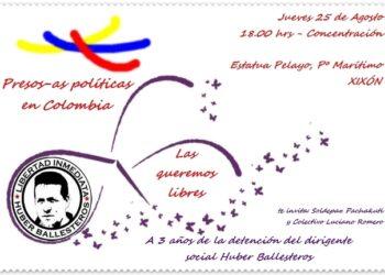 Concentración en Gijón por la amnistía de los presos políticos en Colombia