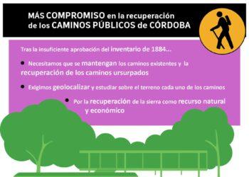EQUO exige al Ayuntamiento de Córdoba que cumpla su compromiso de recuperar los caminos públicos usurpados