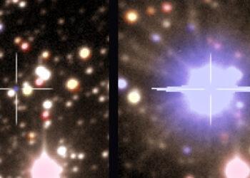 Astronomos capturan raras imágenes de una pequeña estrella antes y después que explotara en una clásica nova