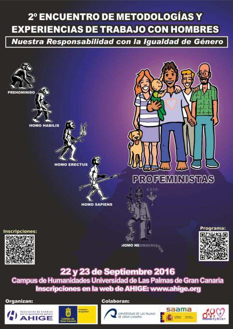 Canarias acoge desde el 22 de septiembre un encuentro de hombres por la igualdad en el que debatirán sobre sus retos y experiencias