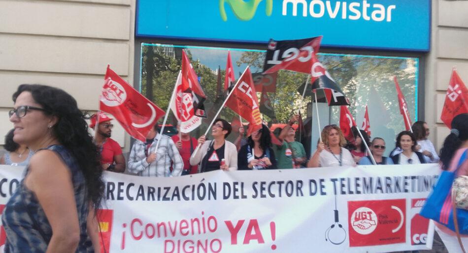 En Valencia, una concentración unitaria protesta hoy contra la precariedad del sector de Contact Center