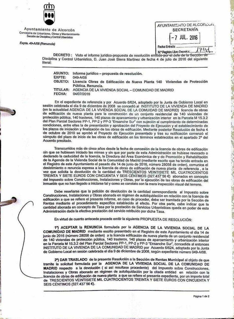 El «irresponsable» gobierno de Alcorcón permite la renuncia para la construcción de 688 viviendas sociales
