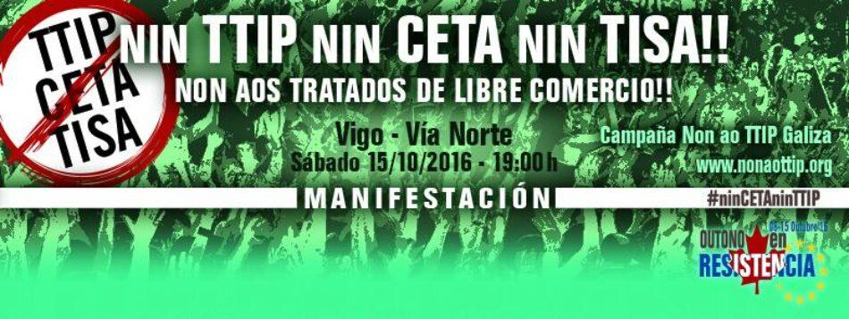 Non ao TTIP Galiza convoca manifestación nacional contra os tratados de libre comercio