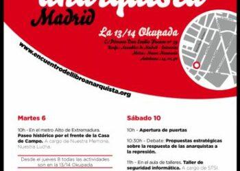XIV Encuentro del libro anarquista de Madrid. 9, 10 y 11 de diciembre