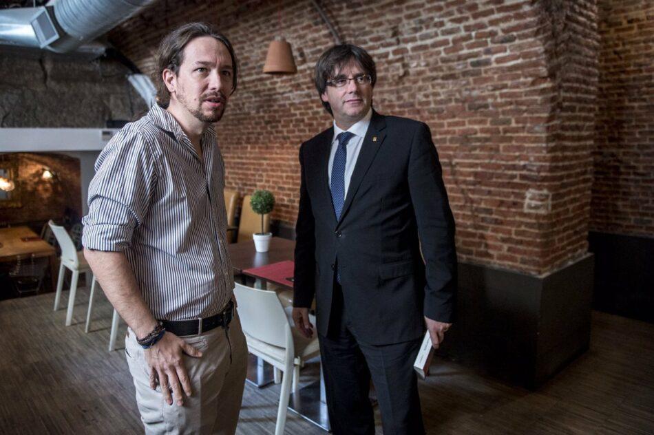 Pablo Iglesias se reúne con Carles Puigdemont