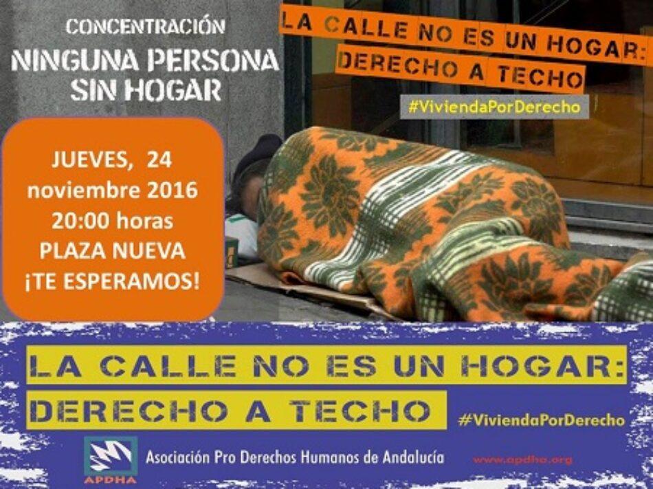 La APDHA Sevilla convoca una concentración frente al Ayuntamiento para denunciar la situación de las Personas Sin Hogar