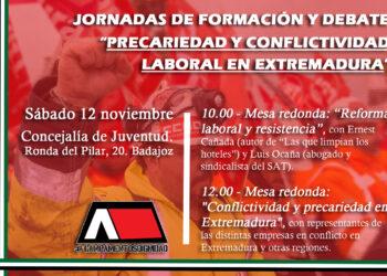 """Jornadas de formación y debate """"Precariedad y conflictividad laboral en Extremadura"""" el próximo sábado en Badajoz"""
