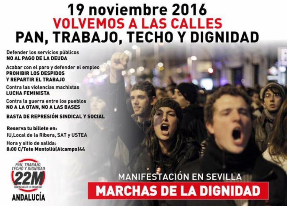 «Marchas de la Dignidad, volvemos a las calles»: el 19 de noviembre manifestación en Sevilla