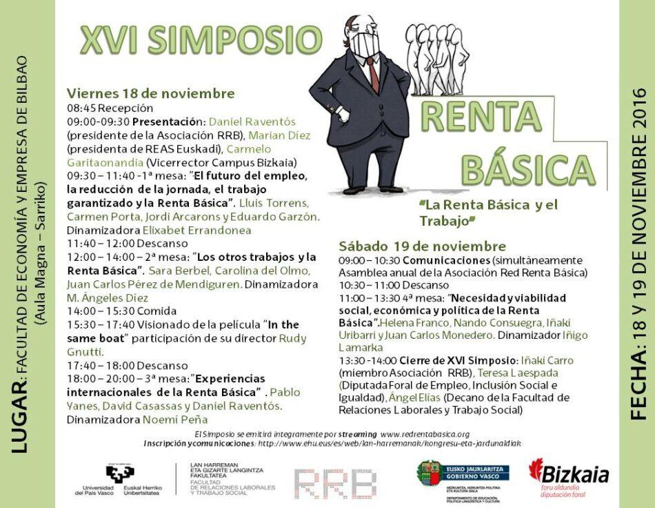 La Facultad de Economía y Empresa de Sarriko acogerá el XVI Simposio sobre Renta Básica