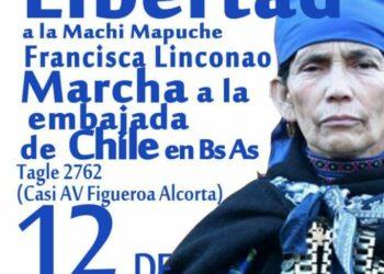 Convocatoria marcha por la libertad a la Machi Mapuche Francisca Linconao en Chile