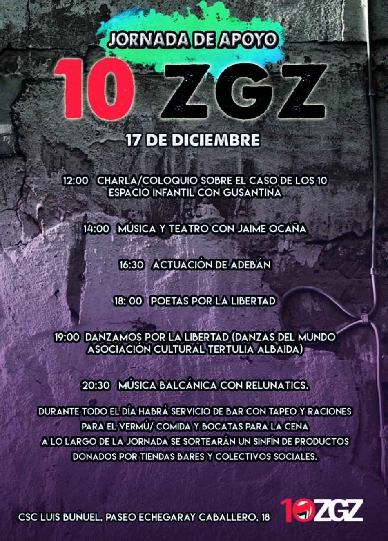 Jornada de apoyo a los 10 antifascistas de Zaragoza que les piden 66 años de prisión