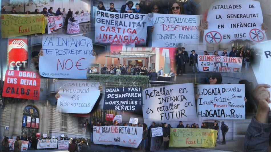 Concentració davant les oficines de la Fundació Acció Social Infància en defensa d'un servei públic