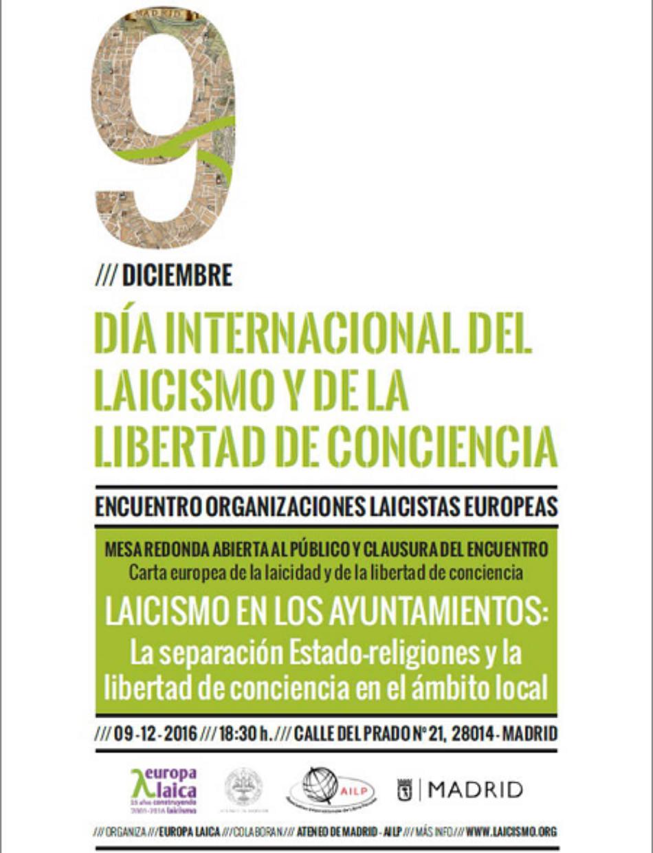 """Encuentro Europeo por el """"Día Internacional del laicismo y de la libertad de conciencia"""": """"El laicismo en los Ayuntamientos"""""""