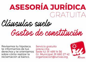 Izquierda Unida de Rivas pone en marcha un servicio gratuito para asesorar jurídicamente a la ciudadanía afectada por las cláusulas suelo