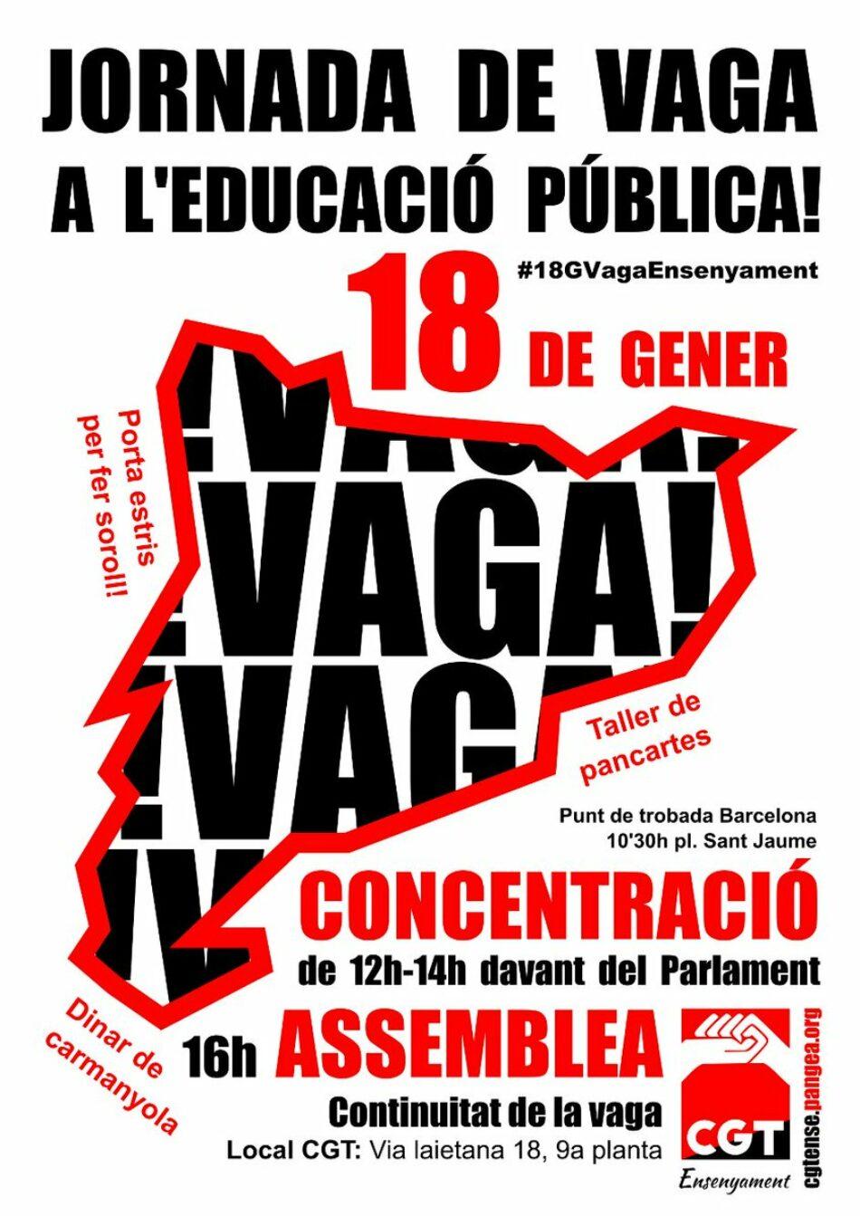 Vaga i manifestacio a l'enseyament 18 de gener per revertir les retallades en educació