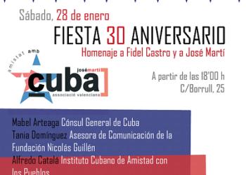 Homenaje a Fidel y Martí en Valencia por 30 aniversario de la asociación valenciana de amistad con Cuba José Martí