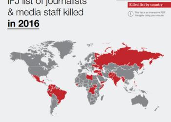 Noventa y tres periodistas y profesionales de medios de comunicación asesinados en 2016