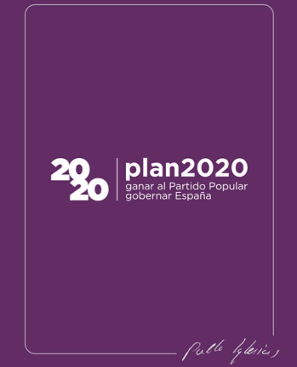 Pablo Iglesias propone un «plan para ganar al PP y gobernar España» en 2020