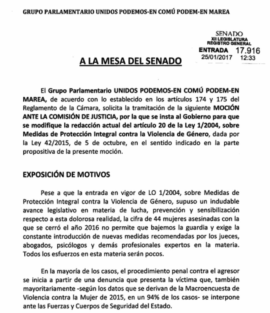 Unidos Podemos propone que las víctimas de violencia machista cuenten con asistencia jurídica y psicológica desde el momento previo a la denuncia