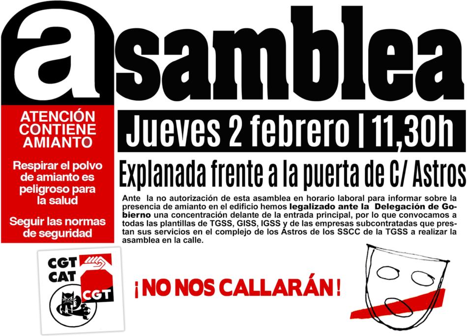 CGT reclama toda la información sobre el amianto que la TGSS oculta a la plantilla del complejo Los Astros de Madrid