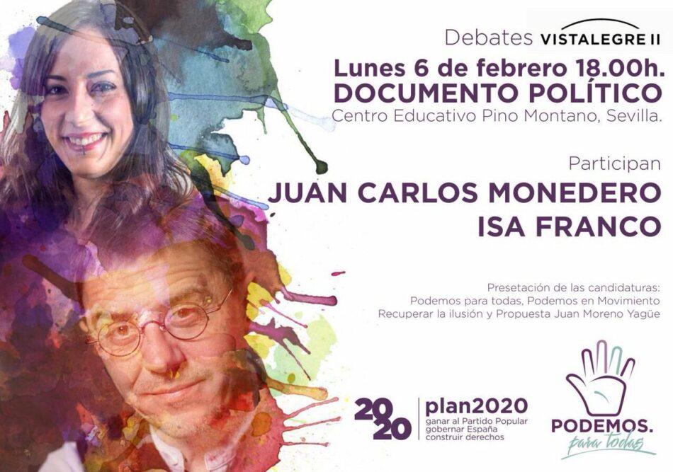 Isabel Franco y Juan Carlos Monedero defienden en Sevilla el documento político de Pablo Iglesias