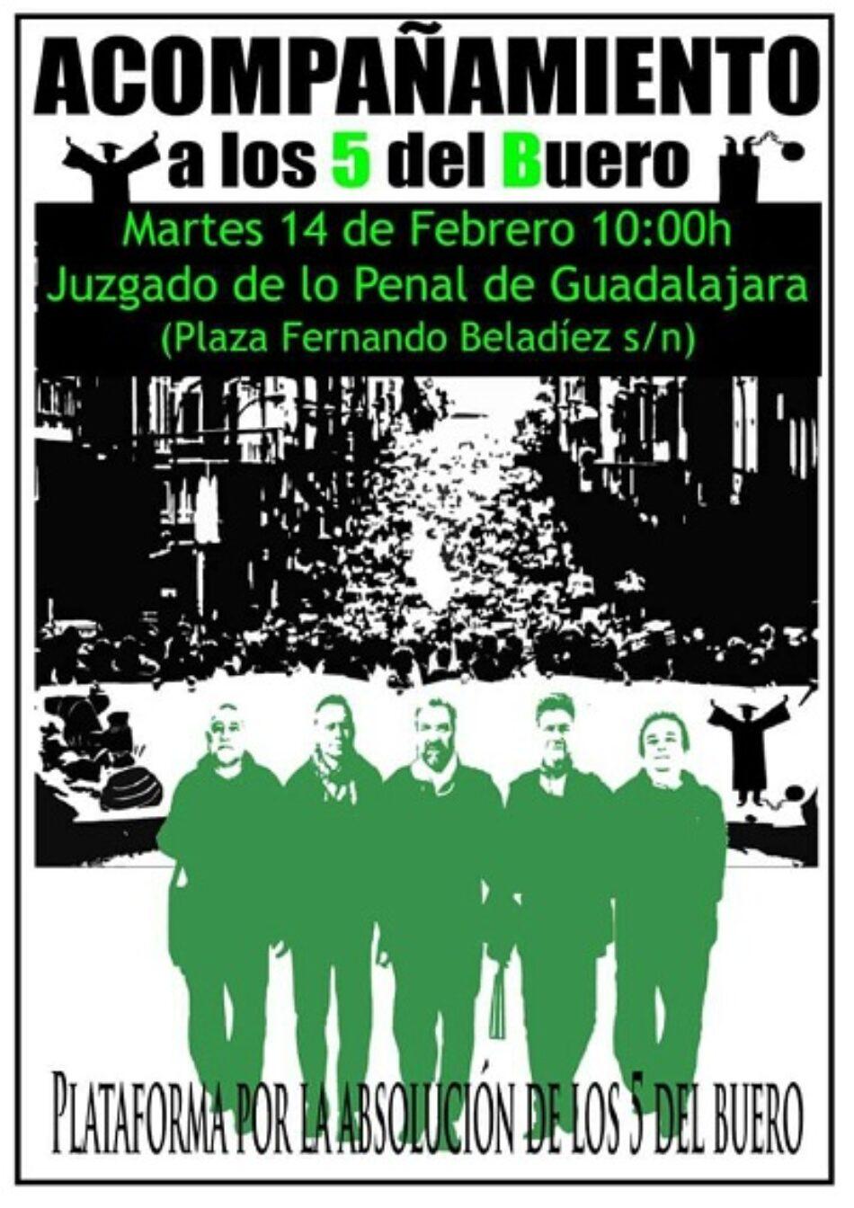 Acompañamiento a los 5 del Buero en el día en que el estado español los juzga