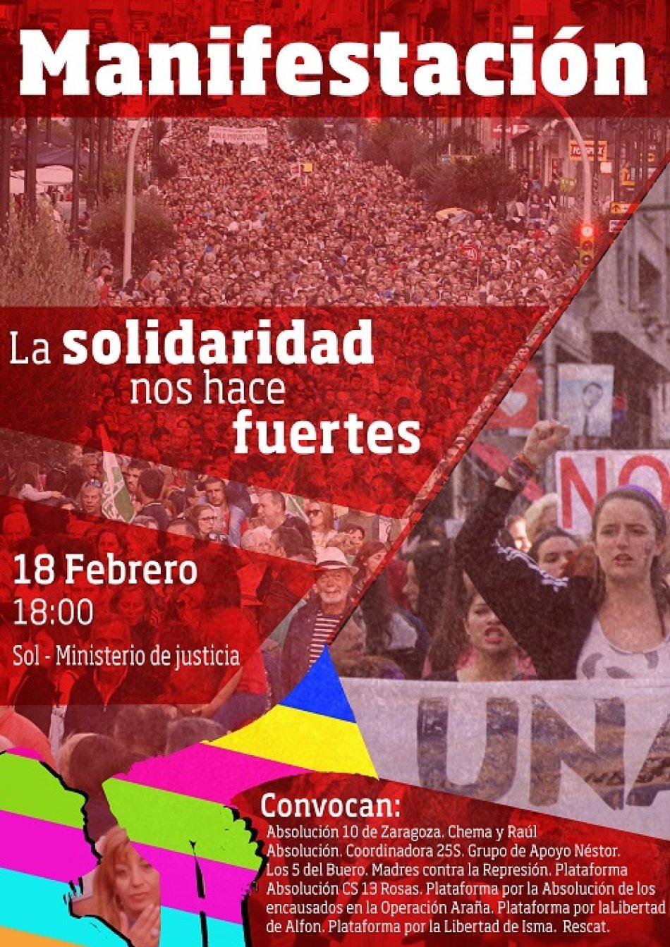 18-F, manifestación Antirrepresiva en Madrid: «la solidaridad nos hace fuertes»