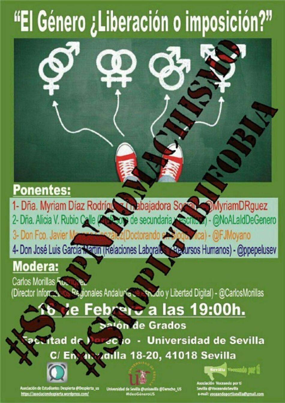 Podemos pide la cancelación de un acto neomachista en la Universidad de Sevilla, con presencia de PP, PSOE y C´s