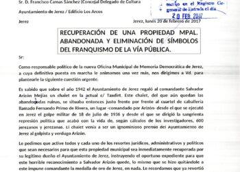 Carta de la Plataforma por la Memoria Democrática de Jerez al Ayuntamiento de ese municipio en relación con los símbolos franquistas en la vía pública