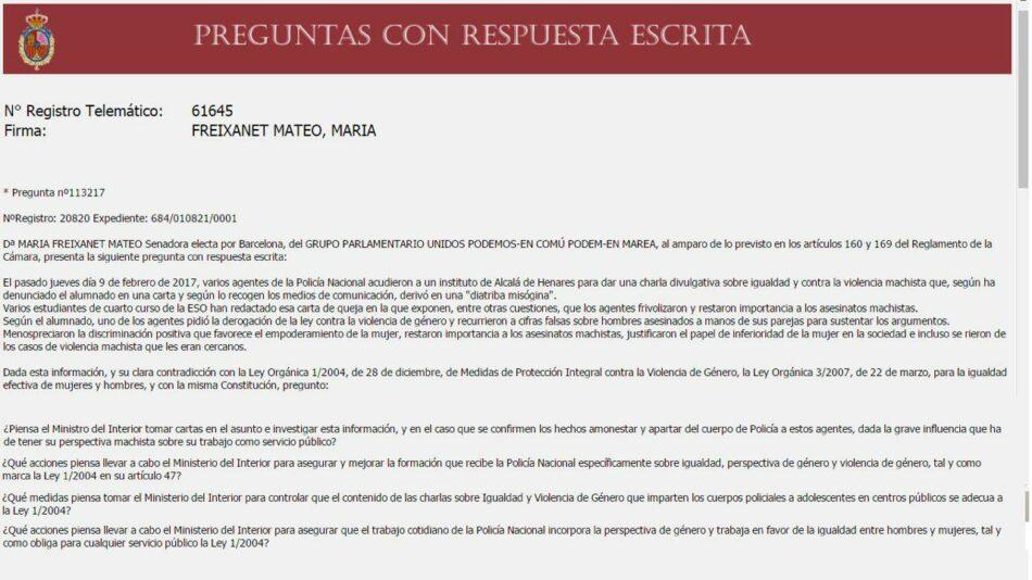 En Comú Podem solicita la comparecencia de Rajoy en el Senado para que explique las medidas urgentes que piensa adoptar después de que ya se contabilicen 10 asesinatos de mujeres en lo que va de año
