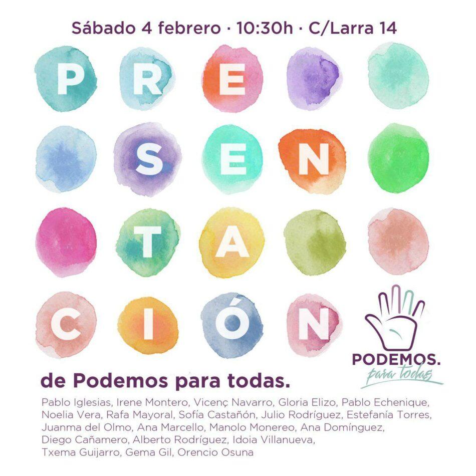 Presentación pública de la candidatura de Podemos Para Todas