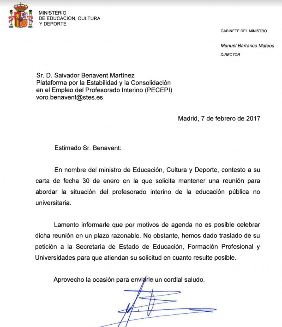 El ministro Méndez de Vigo da largas a la petición de entrevista solicitada por la Plataforma por la Estabilidad y la Consolidación en el Empleo del Profesorado Interino