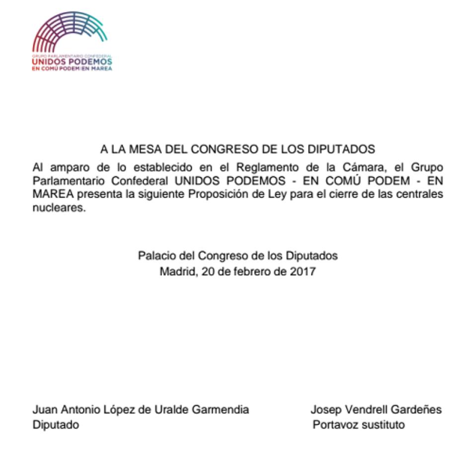 Unidos Podemos – En Comú Podem – En Marea presentan una proposición de ley para cerrar las centrales nucleares