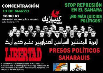 Concentración ante la embajada de Marruecos, por la libertad de los presos saharauis de Gdeim Izik: 13 de marzo