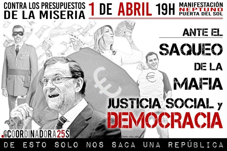 La Coordinadora 25S convoca movilización el 1 de abril ante el saqueo de La Mafia y contra los Presupuestos de la miseria