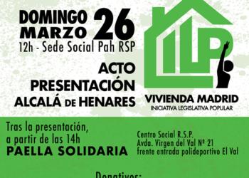 Acto de presentación de la ILP de vivienda – Comunidad de Madrid, en Alcalá de Henares