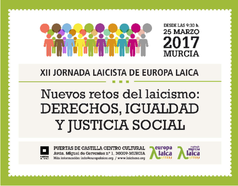 XII Jornada laicista de Europa laica, el sábado 25 de marzo