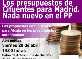 Los presupuestos de Cifuentes: ¿cómo perjudican a Alcalá de Henares?