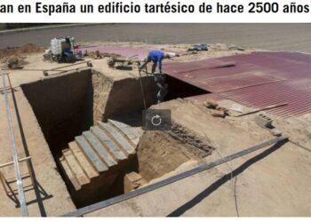 Descubierta una escalinata monumental en el yacimiento tartésico de «Turuñuelo» en Badajoz