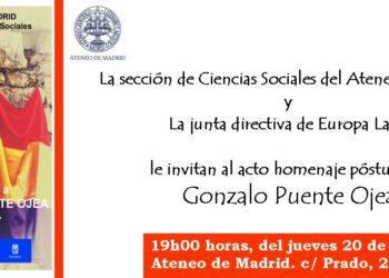 Homenaje a Gonzalo Puente Ojea, Presidente de Honor de Europa Laica, en el Ateneo de Madrid